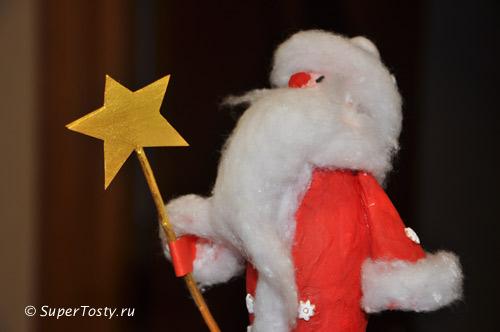 Дед мороз своими руками, золотой посох из прутика. фото. Поделки к новому году с детьми