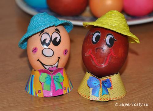 Способы покраски яиц - веселые человечки