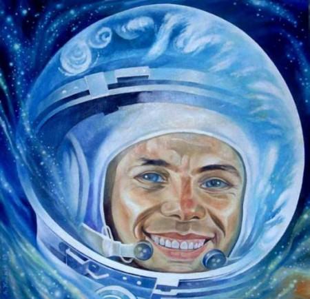 Открытка с днем космонавтики - Юрий Гагарин