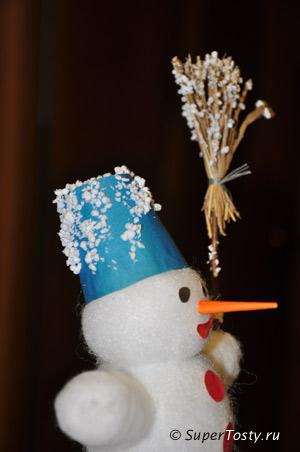 Снеговик из ваты, синтепона, и пластиковой бутылочки - фото. Снеговик в снегу из пенопласта Поделки к новому году с детьми